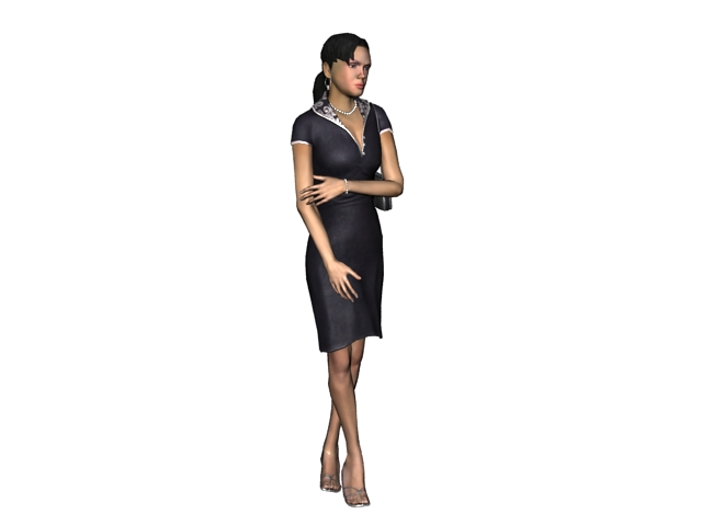 Sexy lady standing legs crossed 3d rendering