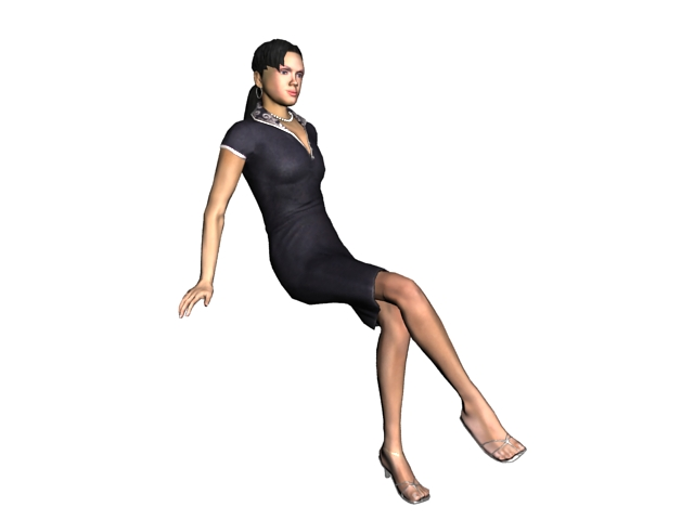 Relaxing lady sitting with legs crossed 3d rendering