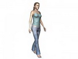Woman in slip dress and jeans 3d preview
