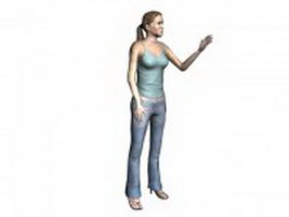 Woman in spaghetti top 3d model preview