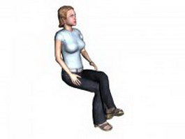 Young woman sitting with legs crossed 3d model preview