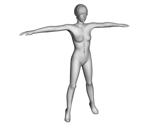 Female figure T-pose 3d rendering