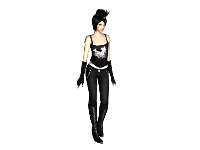 Cool girl in black spaghetti top 3d rendering