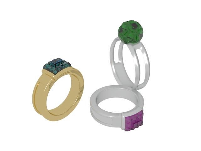 Fashion gemstone rings 3d rendering