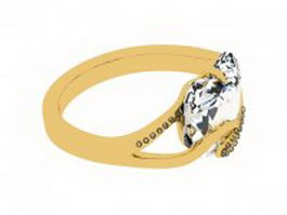 Gold diamond ring 3d preview
