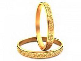 Plain gold bangles 3d preview