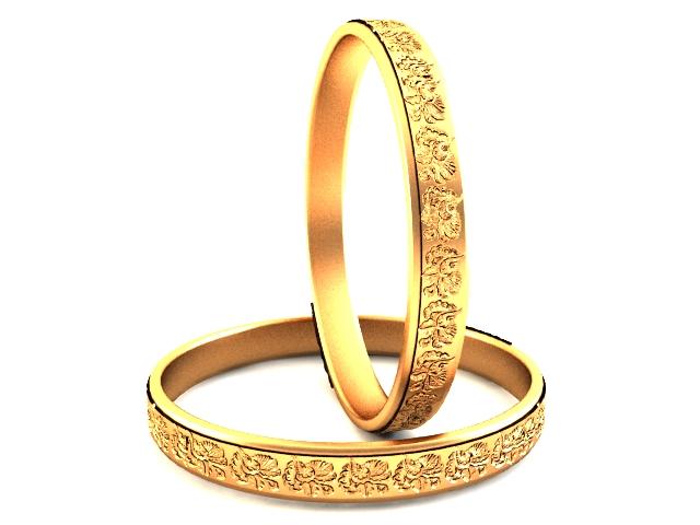 Plain gold bangles 3d rendering