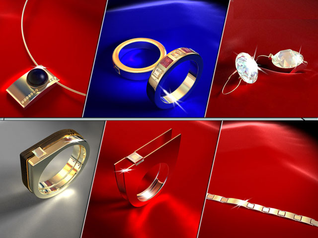 Body jewelry sets 3d rendering