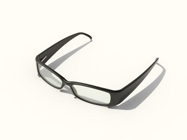 Black frames glasses 3d rendering