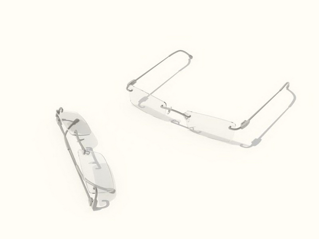 Square rimless glasses 3d rendering