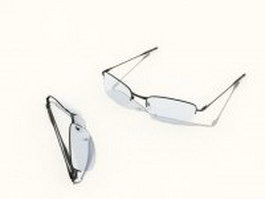 Semi rimless glasses 3d preview
