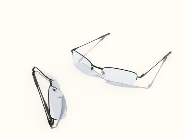 Semi rimless glasses 3d rendering