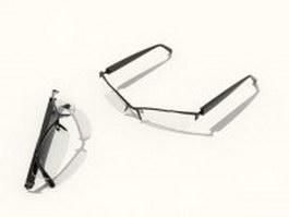 Half rim reading glasses 3d preview