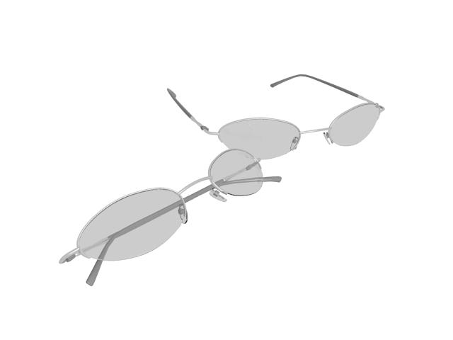 Half rim eyeglasses 3d rendering