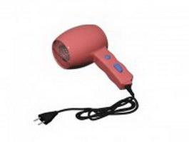 Mini travel hair dryer 3d model preview