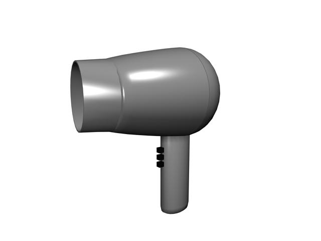 Mini hair dryer 3d rendering