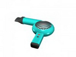 Blue blowdryer 3d model preview