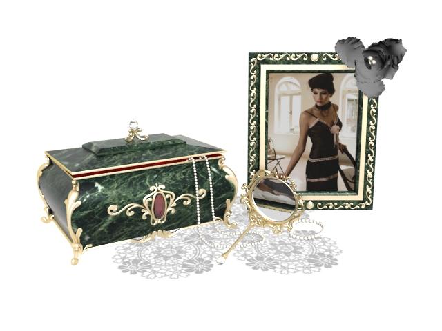 Antique vanity and dresser sets 3d rendering