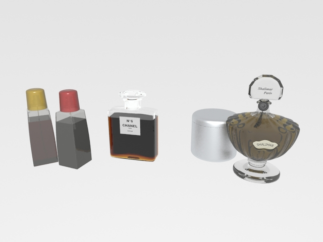 Set of 4 perfume bottles 3d rendering