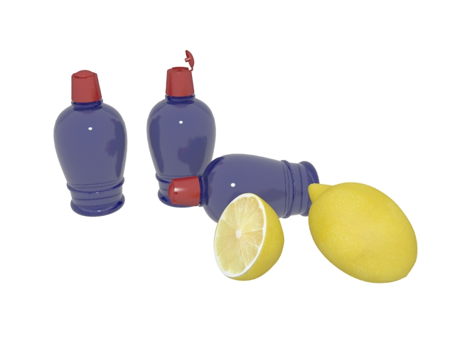 Lemon perfume 3d rendering