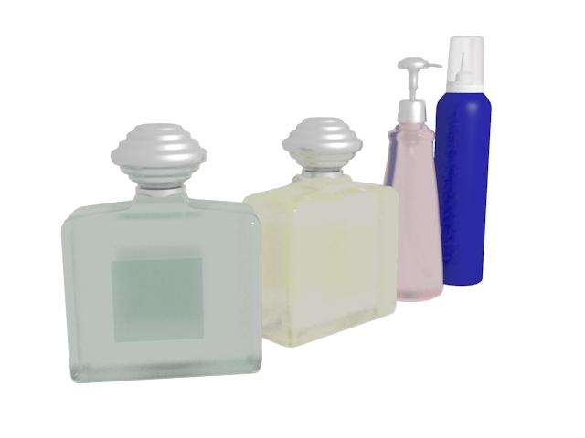 Perfume & hair spray 3d rendering