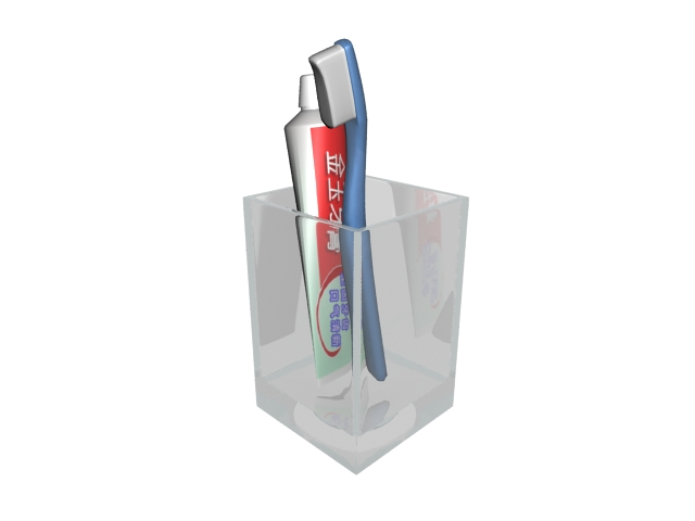 Toothbrush and toothpaste 3d rendering