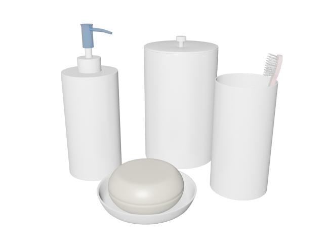 Toiletries in bathroom 3d rendering