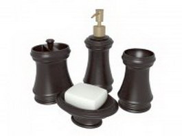 Brown bathroom accessories 3d preview