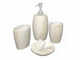 White marble bathroom accessories set 3d preview