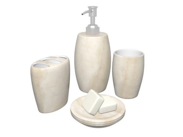 White marble bathroom accessories set 3d rendering