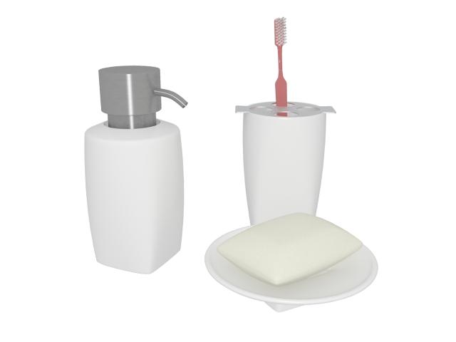 Ceramic bathroom set with toothbrush 3d rendering