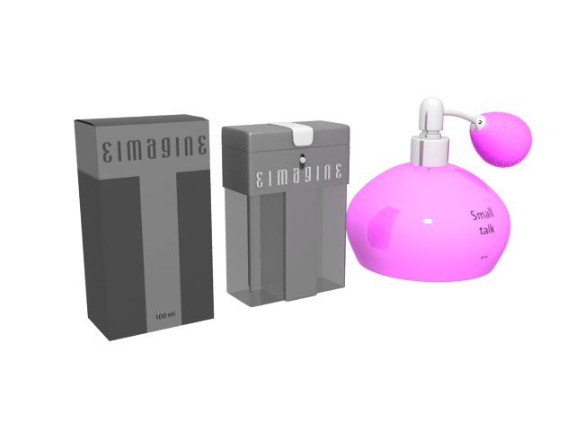 Perfume bottle and boxes 3d rendering