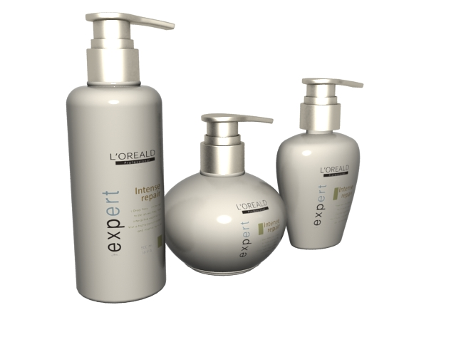 Three bottle of hair conditioner 3d rendering