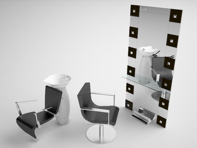 Beauty salon interior 3d rendering