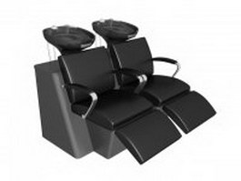Double seat shampoo chair 3d preview