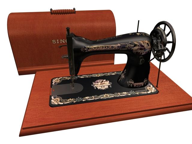 Singer sewing machine 3d rendering