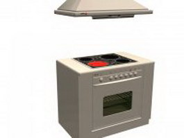 Stove oven and extractor hood 3d model preview
