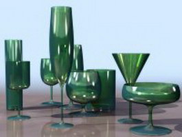 Wine glass set 3d preview