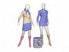 Female mannequins with clothes 3d preview