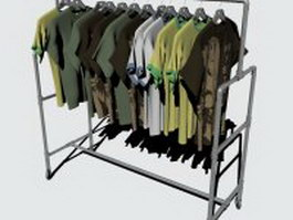 Shirt rack with T-shirt 3d preview