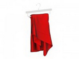 Red dress on hanger 3d preview