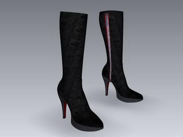 Dress boots for women 3d rendering