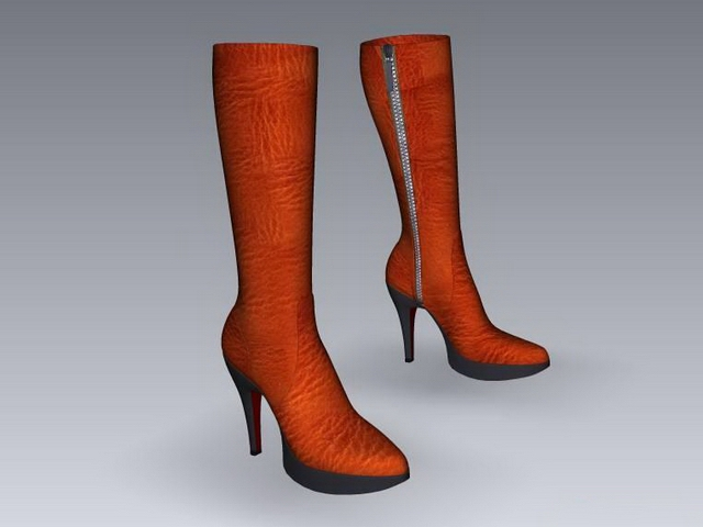 Calf high leather boots 3d rendering