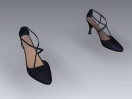 Black leather slingback shoes 3d preview