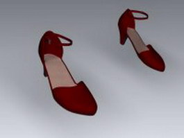 Strappy high heels pump shoes 3d preview