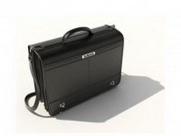 Black leather briefcase 3d model preview