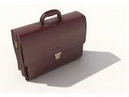 Brown leather briefcase 3d model preview