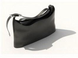 Black leather handbag 3d model preview