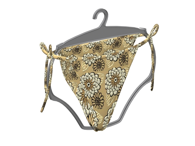 Side tie panties on hanger 3d rendering