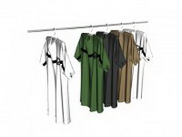 T-shirts on clothes rack 3d preview